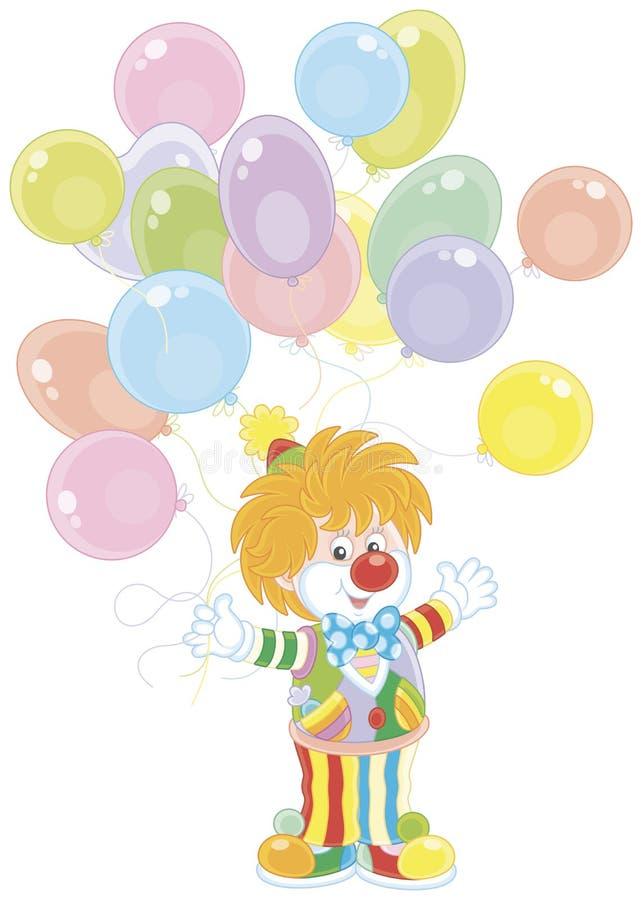 Клоун цирка с воздушными шарами иллюстрация штока