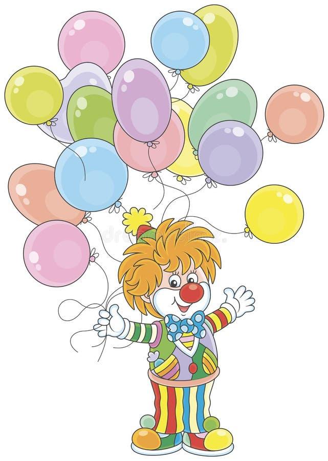 Клоун цирка с воздушными шарами иллюстрация вектора