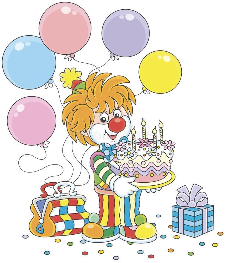 Клоун цирка с именниным пирогом иллюстрация вектора