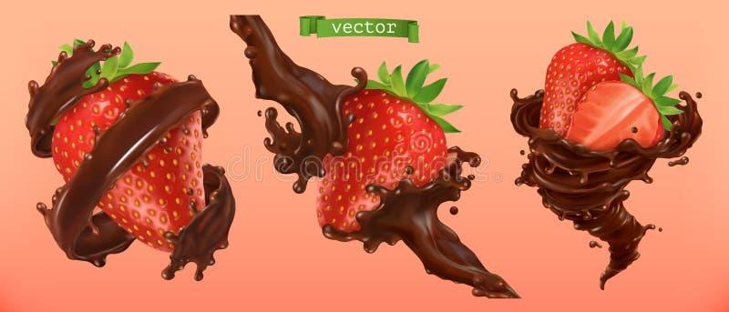 Клубника и шоколад брызгают вектор 3d иллюстрация вектора