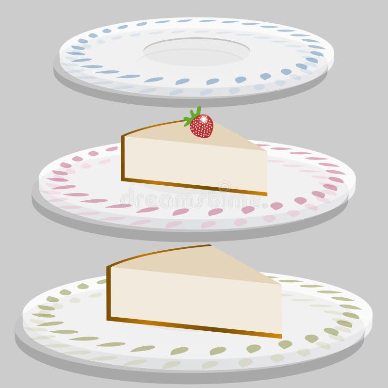 клубника плиты cheesecake иллюстрация штока