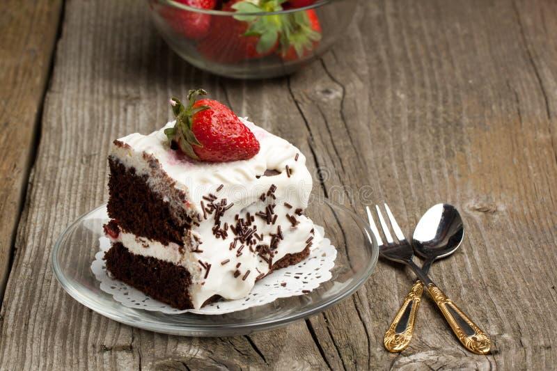 клубника шоколада торта стоковое изображение rf