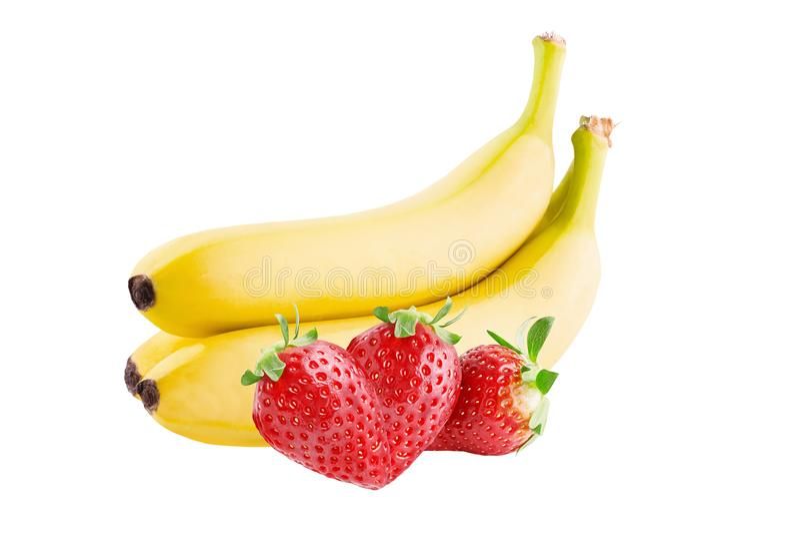 3 клубники и 3 банана изолированных на белом backgroun стоковое изображение rf