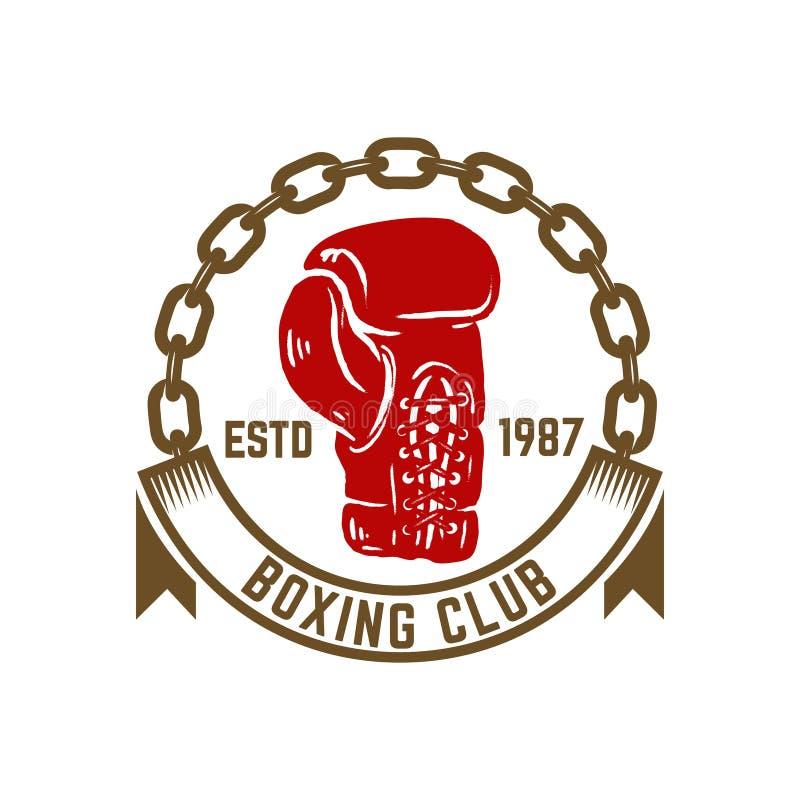 Клуб бокса чемпиона Шаблон эмблемы с перчаткой боксера Конструируйте элемент для логотипа, ярлыка, эмблемы, знака бесплатная иллюстрация