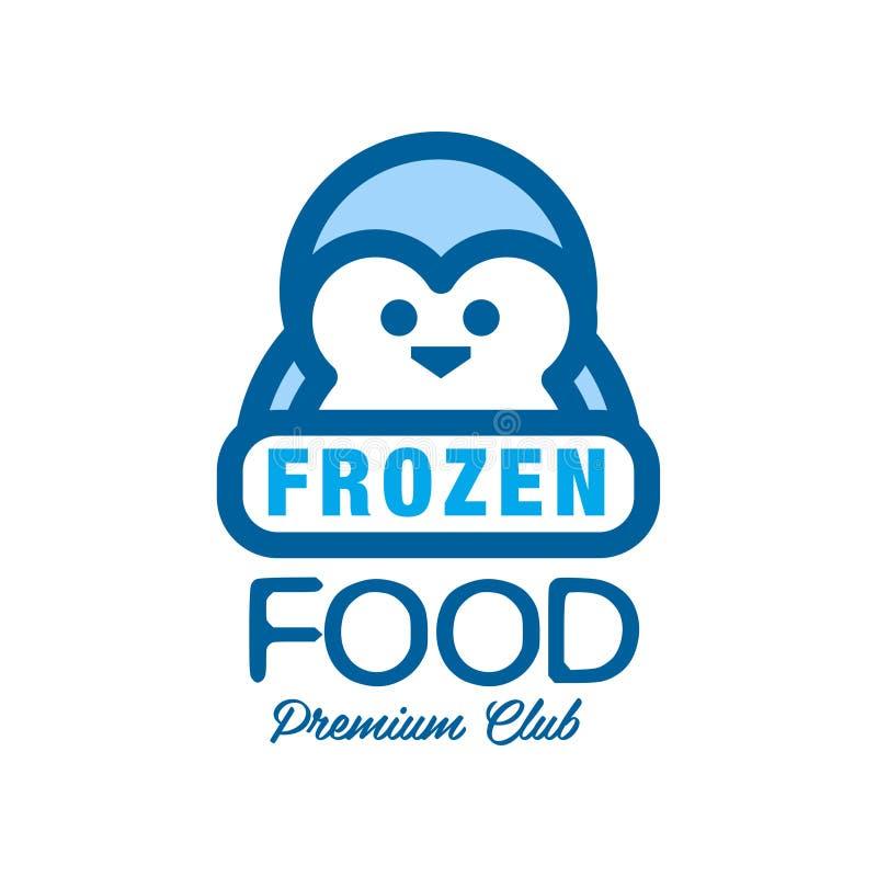 Клуб замороженных продуктов наградной, ярлык для замерзать с иллюстрацией вектора пингвина иллюстрация штока