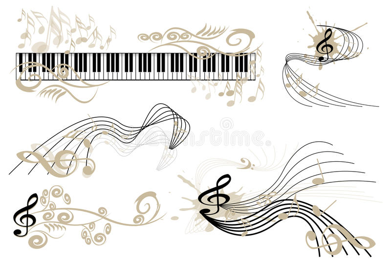 ключевая клавиатура замечает рояль иллюстрация вектора