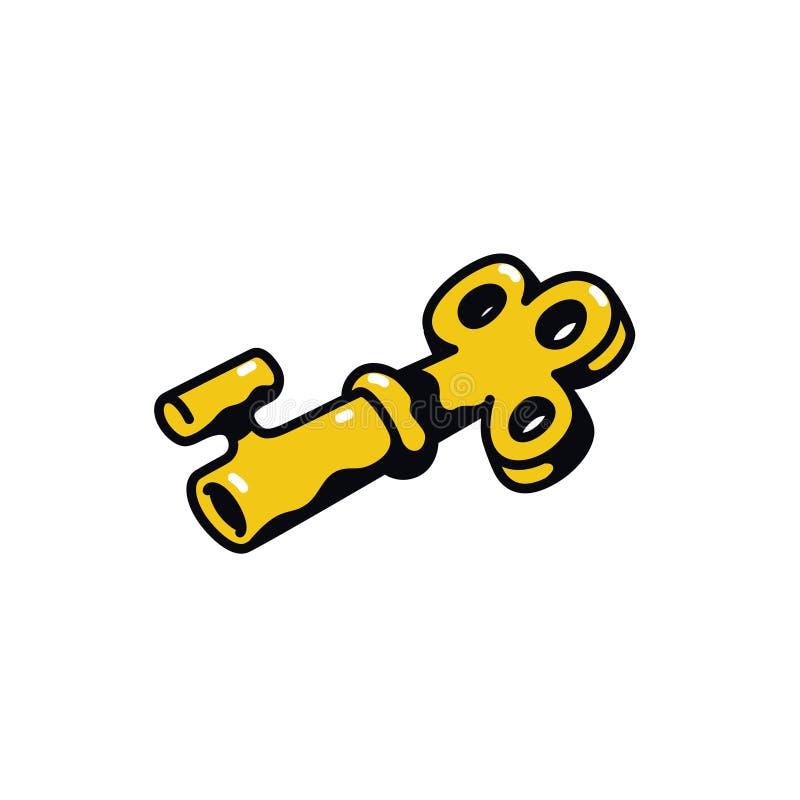 Ключевой значок r Иллюстрация золотого ключа Знак мультфильма, символ иллюстрация вектора