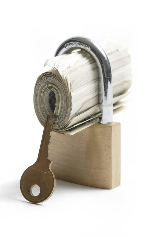 ключевые locked деньги рядом стоковое изображение rf