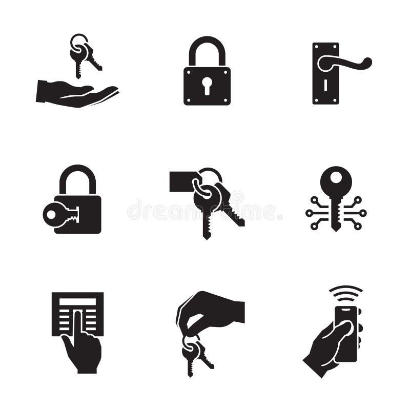 Ключи и установленные значки замков иллюстрация штока