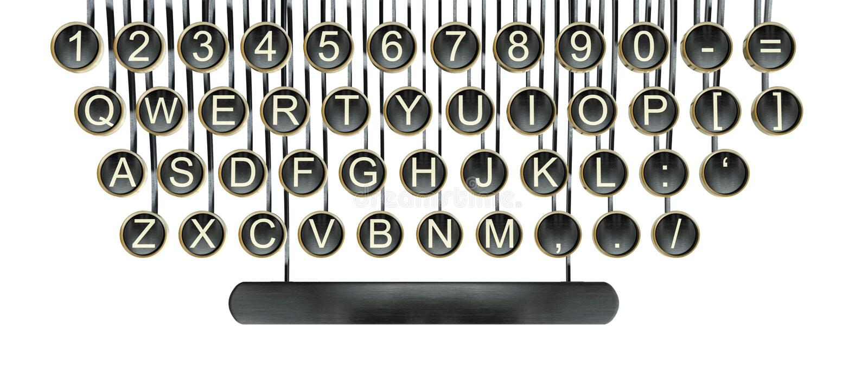 Ключи машинки, белизна год сбора винограда изолированная клавиатурой стоковая фотография rf