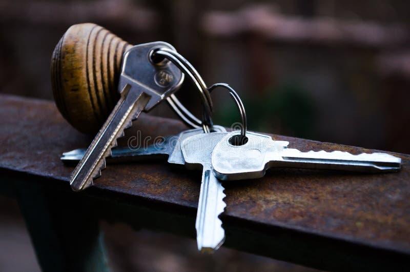 Ключи пук пользуется ключом белизна Ключи к квартире Ключи от номера с дистанционным управлением Деревянное keychain с номером и  стоковая фотография rf