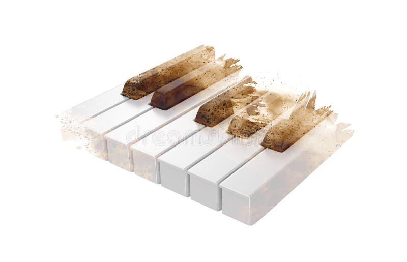 Ключи рояля изолированные на белизне бесплатная иллюстрация