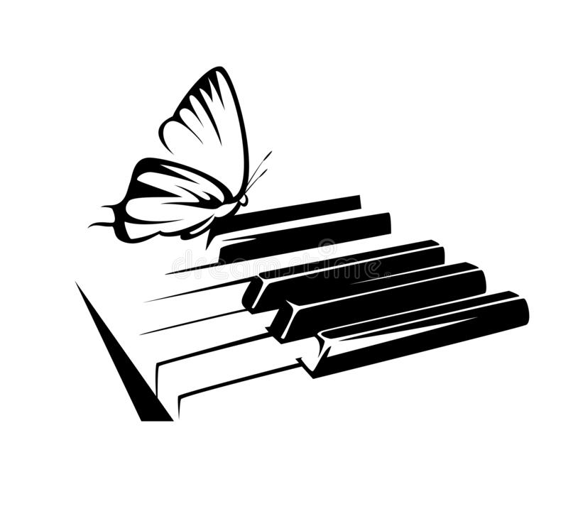 Ключи рояля и дизайн вектора черноты бабочки бесплатная иллюстрация