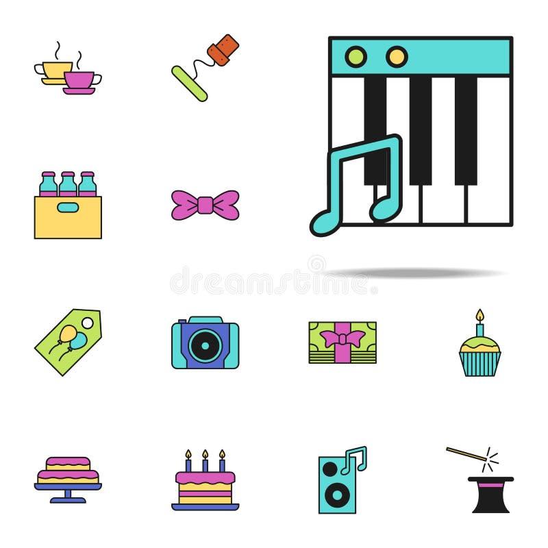 ключи рояля покрасили значок Комплект значков дня рождения всеобщий для сети и черни иллюстрация штока