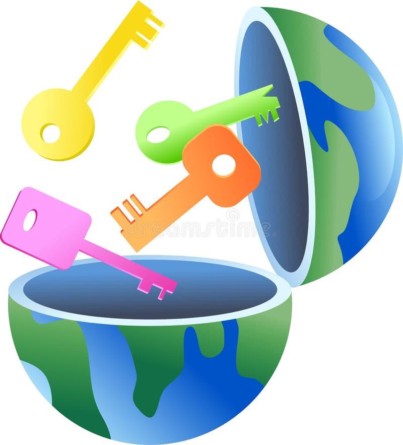 ключ глобуса иллюстрация штока