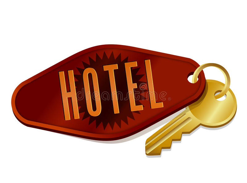 Ключ гостиницы/комнаты в мотеле сбора винограда иллюстрация вектора