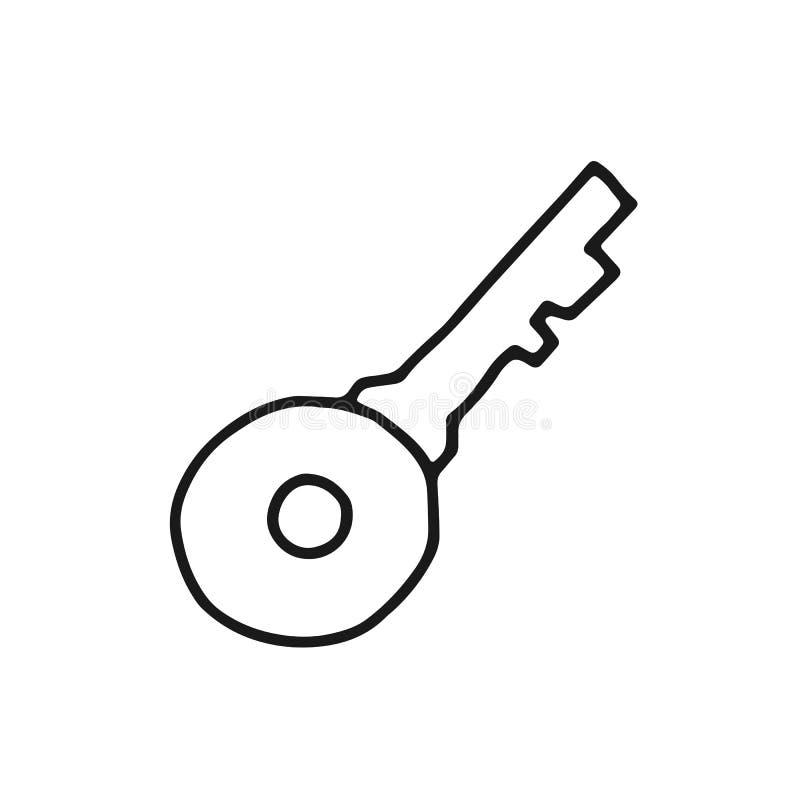 Ключ для открытия эскиза значка замка изолированный инструмент объекта иллюстрация штока