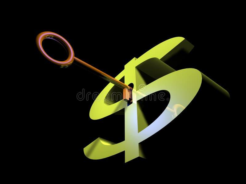 ключ доллара к иллюстрация штока