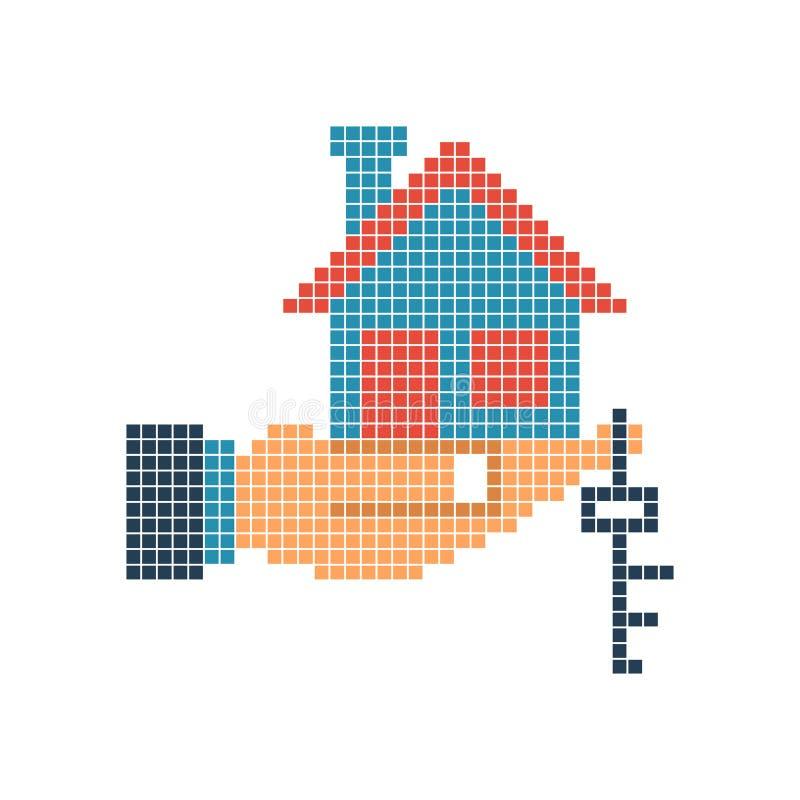Ключ дома в пикселе руки иллюстрация штока