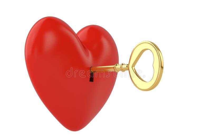 Ключ золота и красное сердце на белой предпосылке иллюстрация 3d иллюстрация штока