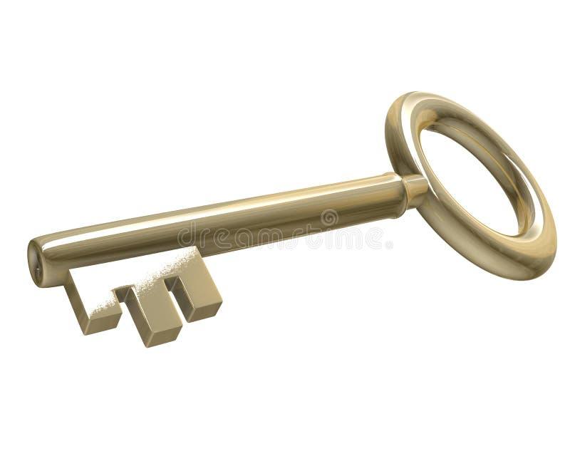 ключ золота 3d иллюстрация штока