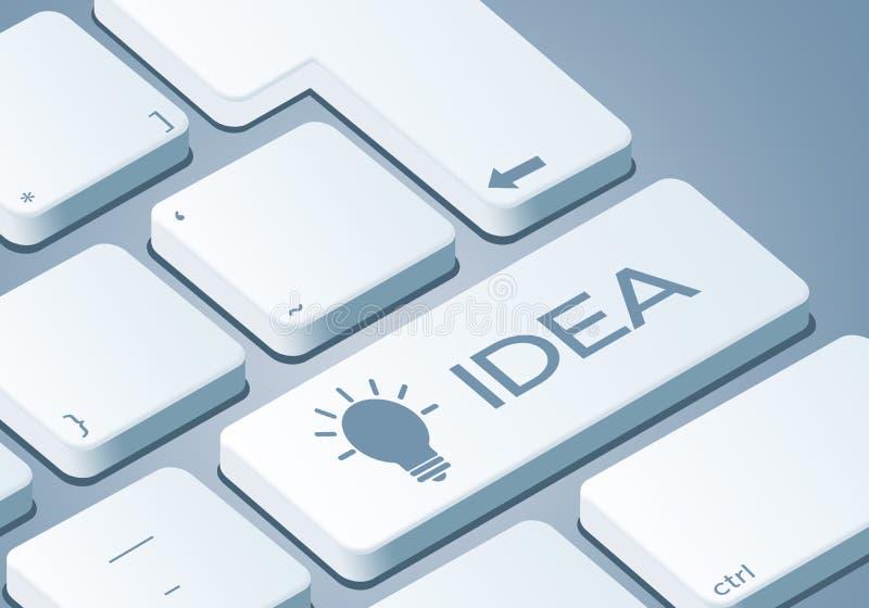 Ключ идеи - клавиатура с иллюстрацией концепции 3D иллюстрация вектора