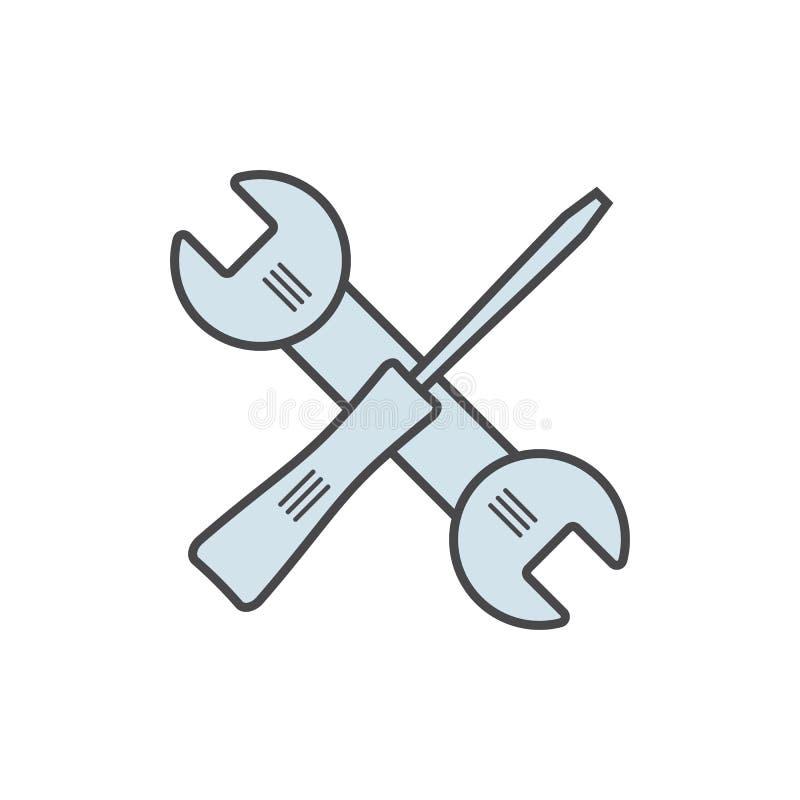 Ключ и отвертка ремонта Голубой инструмент цвета или вектор eps10 значка ремонта Обслуживание и установки подписывают иллюстрация вектора