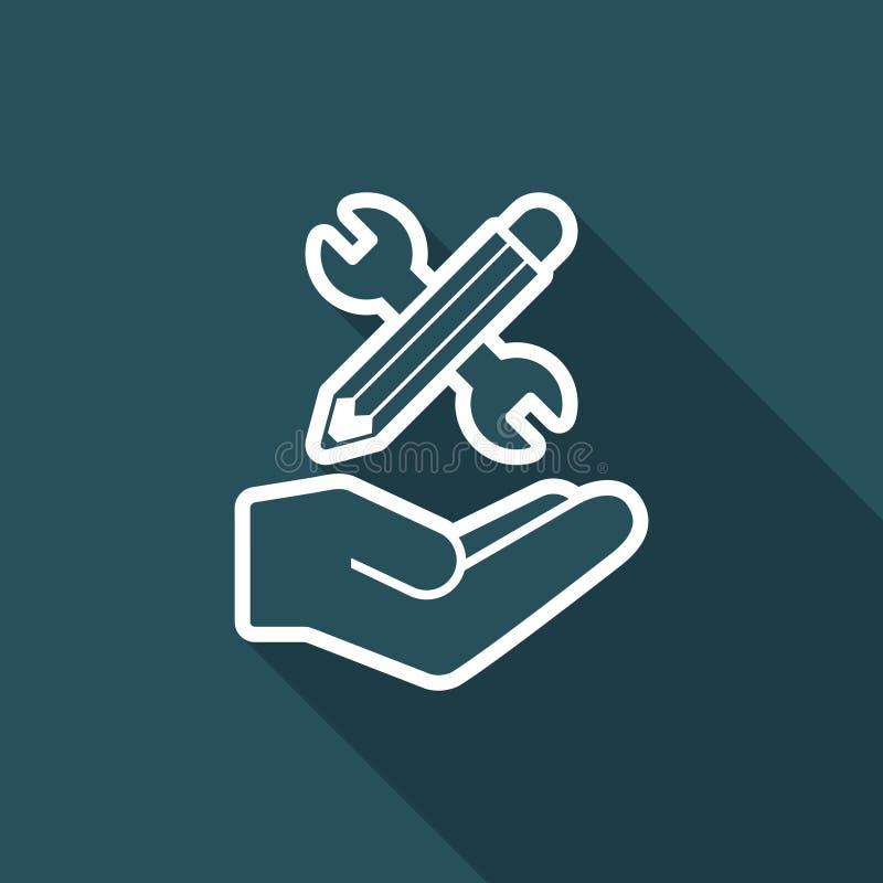 Ключ и ручка - значок дизайн-проекта иллюстрация штока