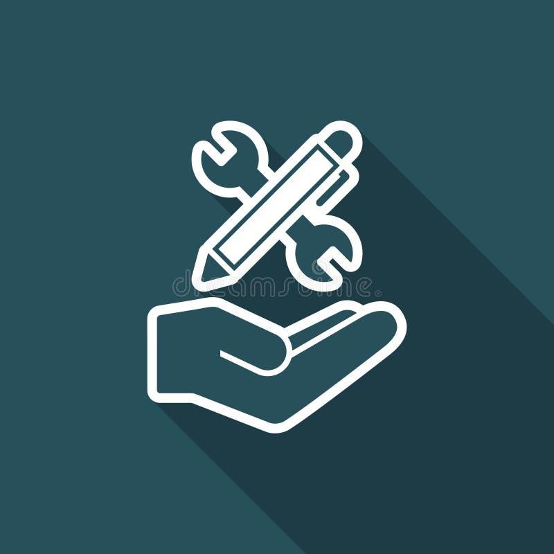 Ключ и ручка - значок дизайн-проекта иллюстрация вектора