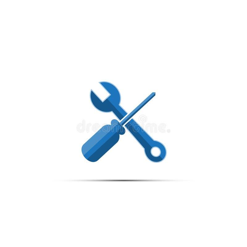 ключ и screwdrive значок инструмента на изолированном белом backgro иллюстрация вектора