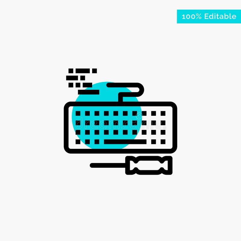 Ключ, клавиатура, оборудование, значок вектора пункта круга самого интересного бирюзы ремонта бесплатная иллюстрация
