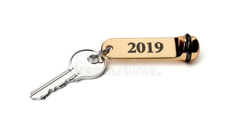 Ключ комнаты с золотым keychain 2019 Новых Годов иллюстрация штока