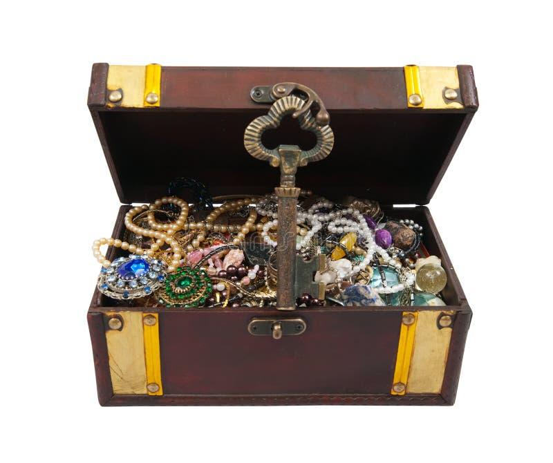 ключ комода над белизной сокровища стоковые фотографии rf