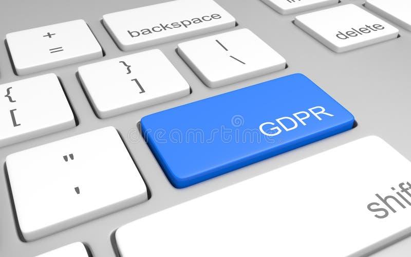 Ключ компьютера для достигать данных по для предпринимателей вебсайта, соответствия GDPR перевода 3D иллюстрация штока