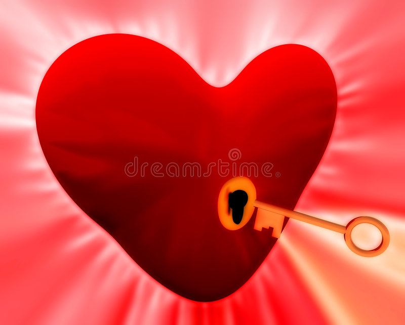 Ключ к вашему сердцу   иллюстрация штока