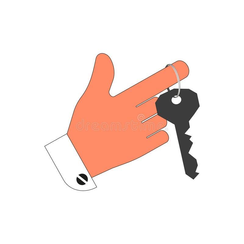Ключ к двери или замку на его пальце белизна изоляции бита предпосылки иллюстрация штока