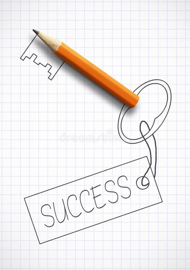 Ключ к концепции успеха, вычерченный ключ с карандашем стоковая фотография