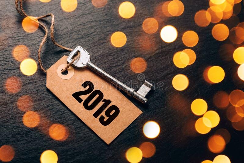 Ключ металла с биркой 2019 год стоковые фото