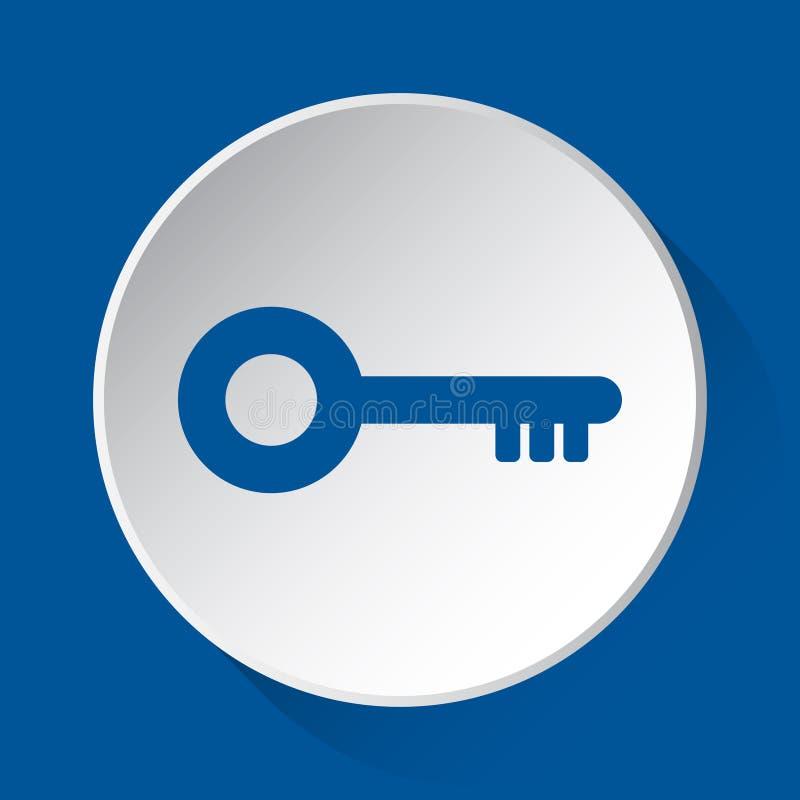 Ключ - простой голубой значок на белой кнопке иллюстрация штока