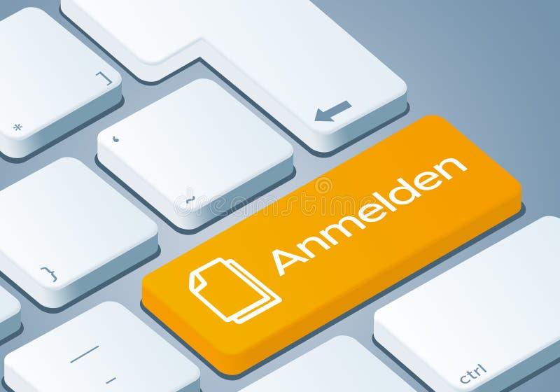 Ключ регистрации - клавиатура с иллюстрацией концепции 3D - Немецк-перевод: Anmelden иллюстрация вектора