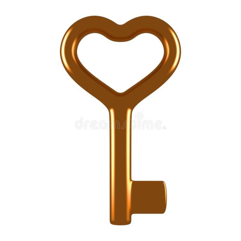 ключ сердца золота иллюстрация вектора