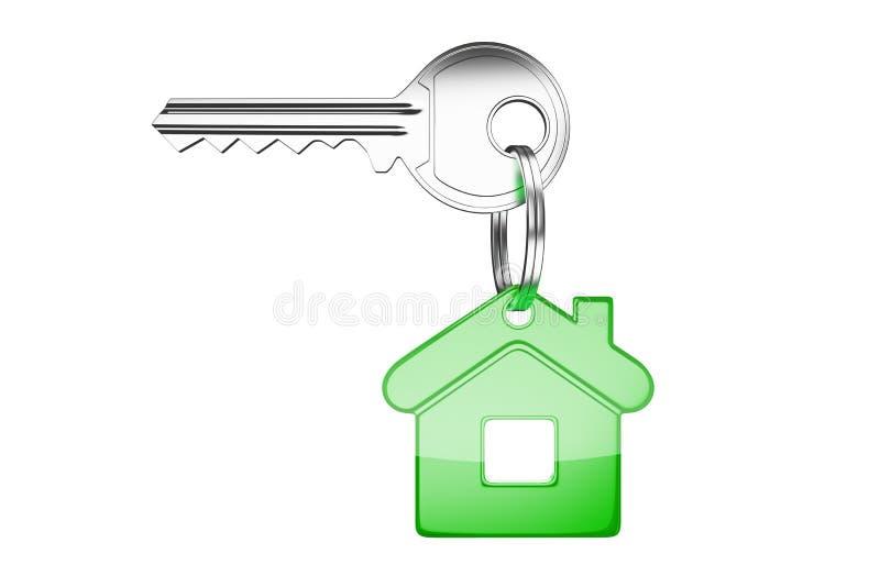 Ключ с зеленой ключевой цепью иллюстрация вектора
