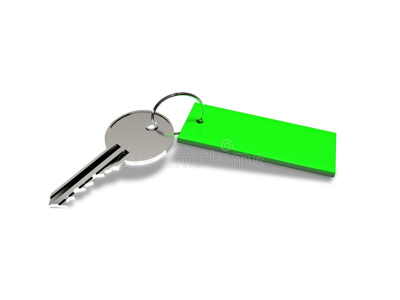 Ключ с зеленым цветом обманывает на белой предпосылке перевод 3d стоковая фотография
