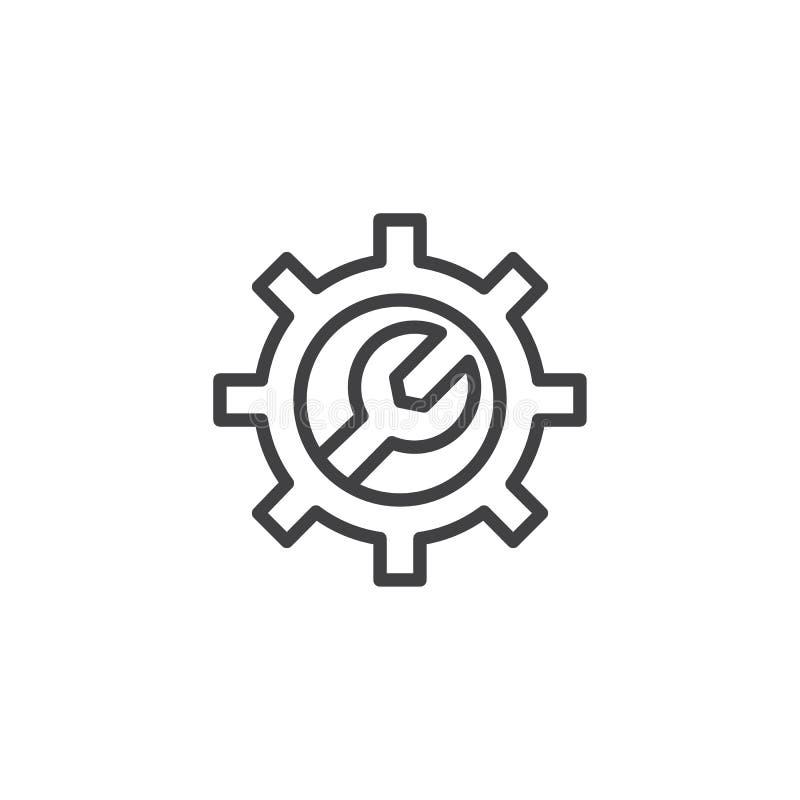 Ключ с значком плана шестерни бесплатная иллюстрация