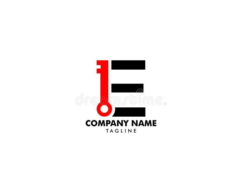 Ключ с логотипом письма e иллюстрация вектора