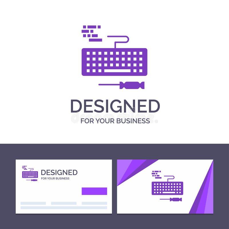 Ключ творческого шаблона визитной карточки и логотипа, клавиатура, оборудование, иллюстрация вектора ремонта иллюстрация вектора