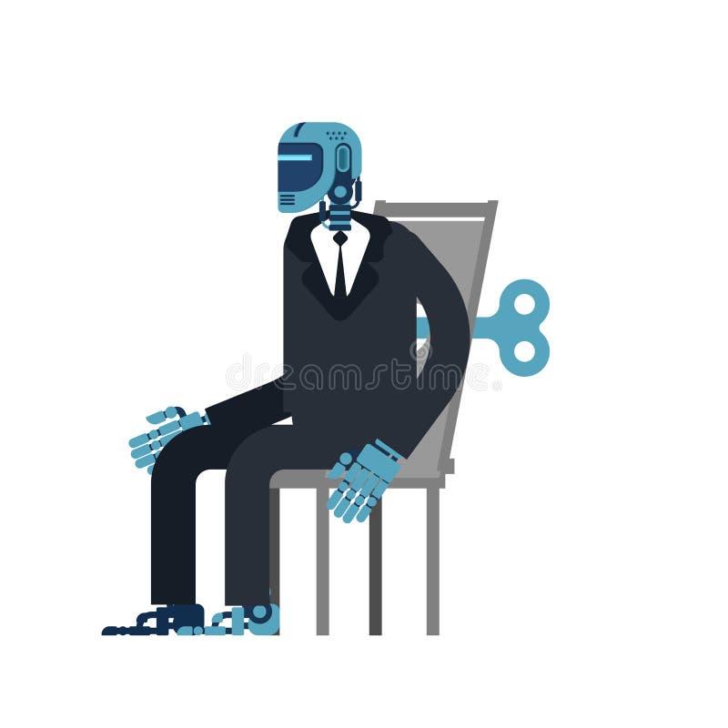 Ключ Clockwork бизнесмена киборга Офис робота Искусственный Intel иллюстрация вектора