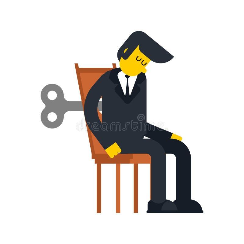Ключ Clockwork бизнесмена Шестерня механизма робота игрушки дела Ve иллюстрация вектора