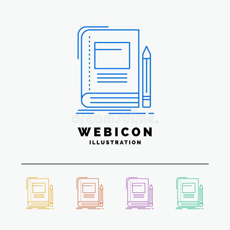 Книга, дело, образование, тетрадь, шаблон значка сети цветного барьера школы 5 изолированный на белизне r бесплатная иллюстрация
