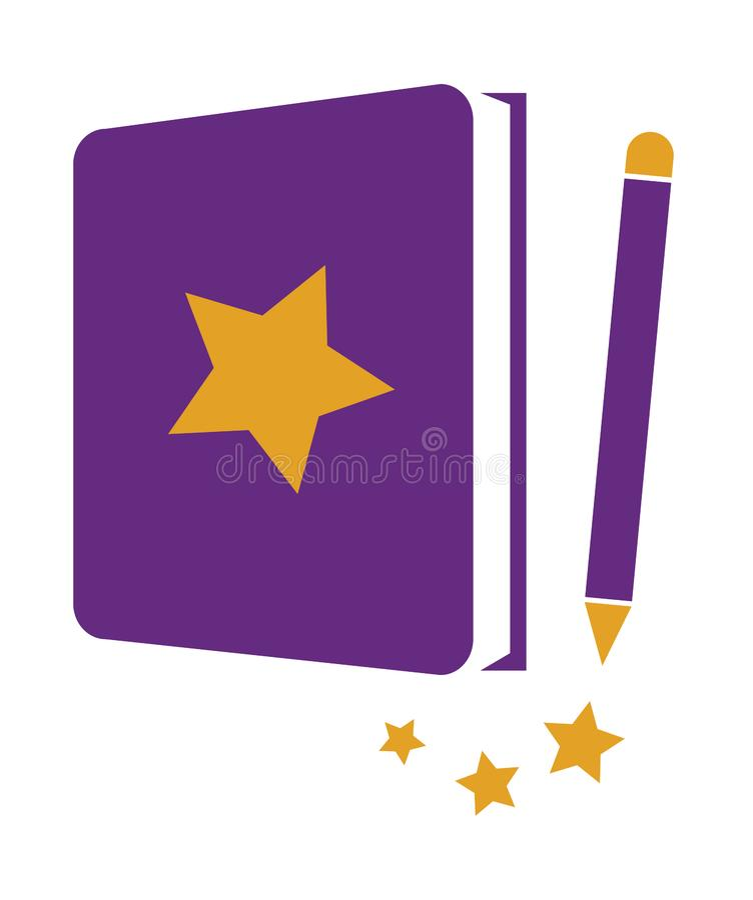 Книга звезды с карандашем иллюстрация штока